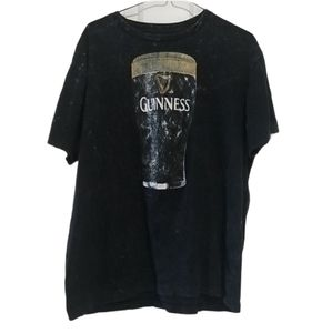 Guinness Acid Wash Beer Pint Black  Graphic Tshirt